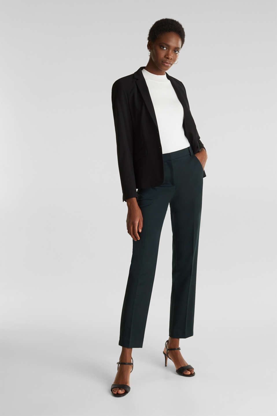 Stretch trousers with pressed pleats, DARK TEAL GREEN, detail image number 1