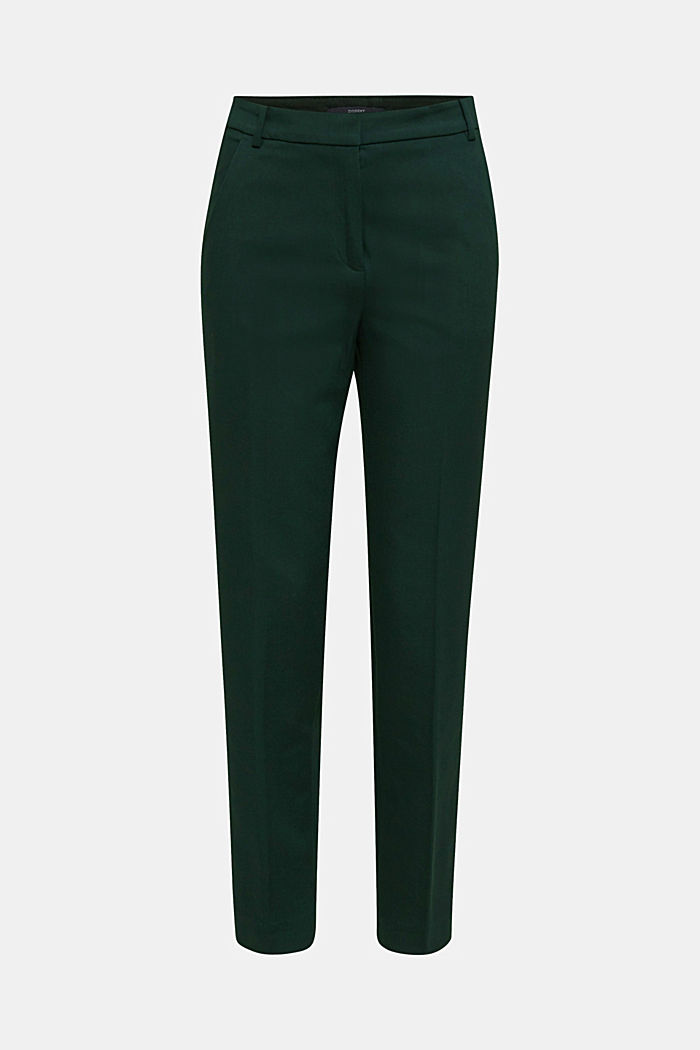 Stretch trousers with pressed pleats