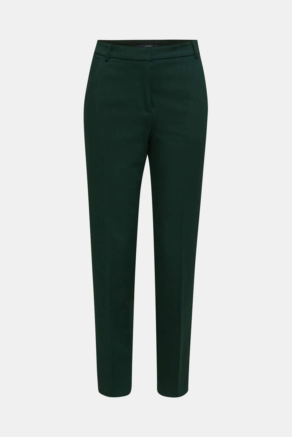 Stretch trousers with pressed pleats, DARK TEAL GREEN, detail image number 9