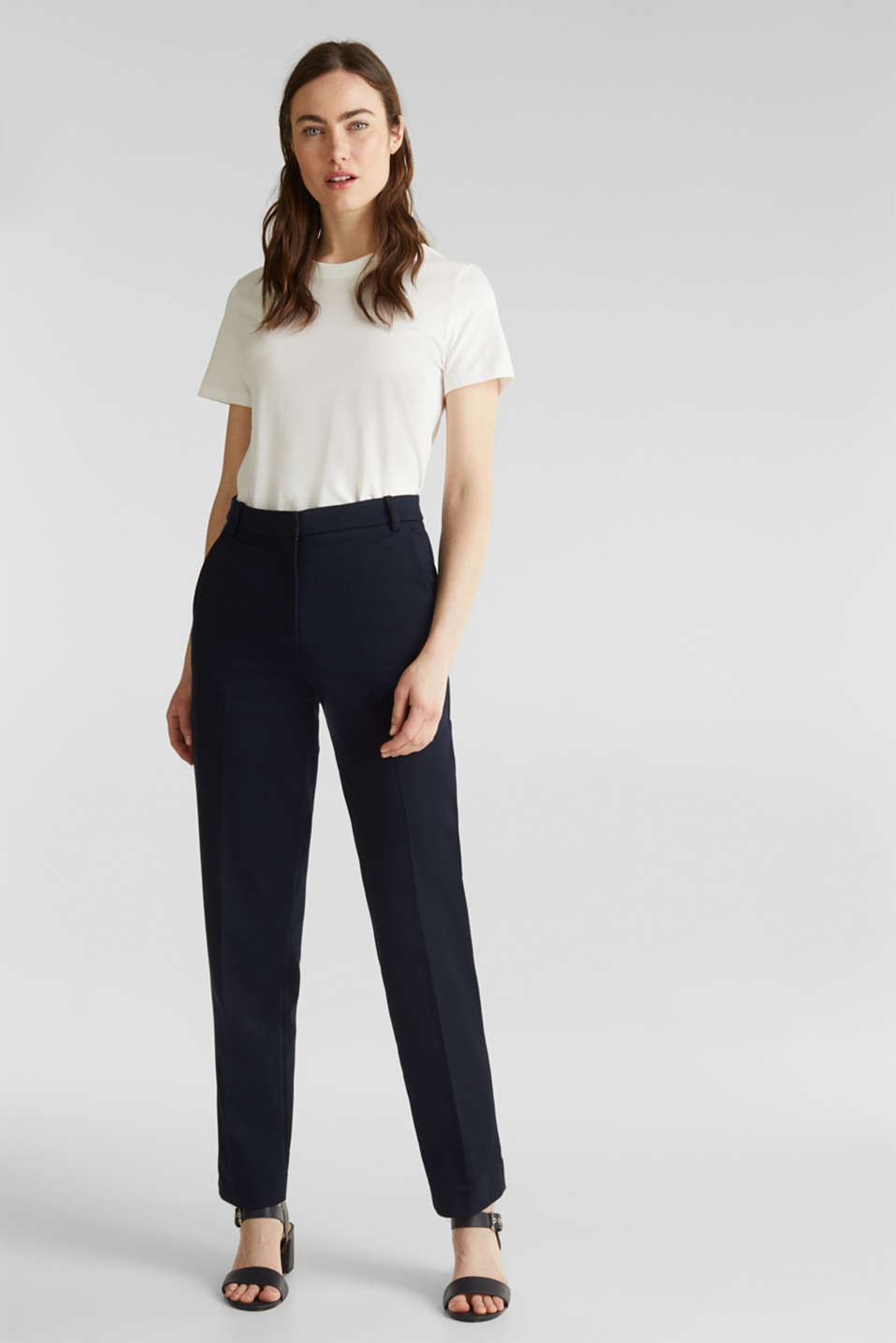 Stretch trousers with pressed pleats, NAVY, detail image number 0