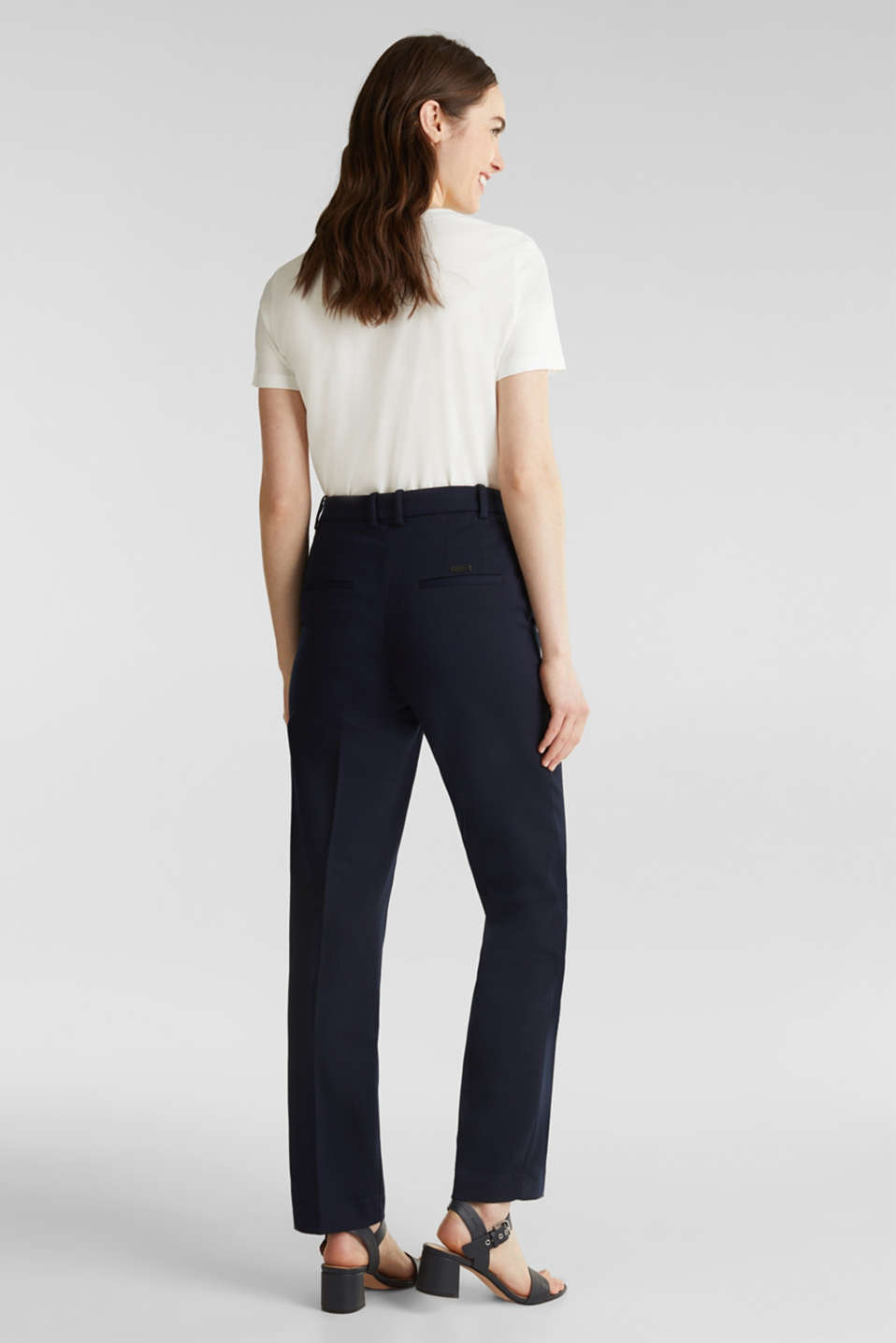 Stretch trousers with pressed pleats, NAVY, detail image number 3
