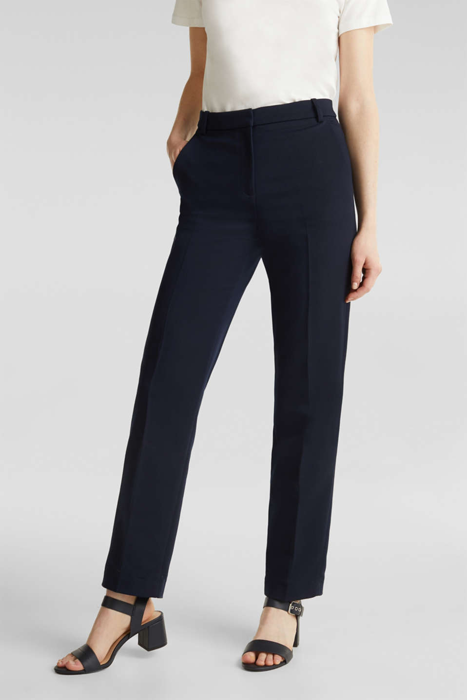 Stretch trousers with pressed pleats, NAVY, detail image number 6