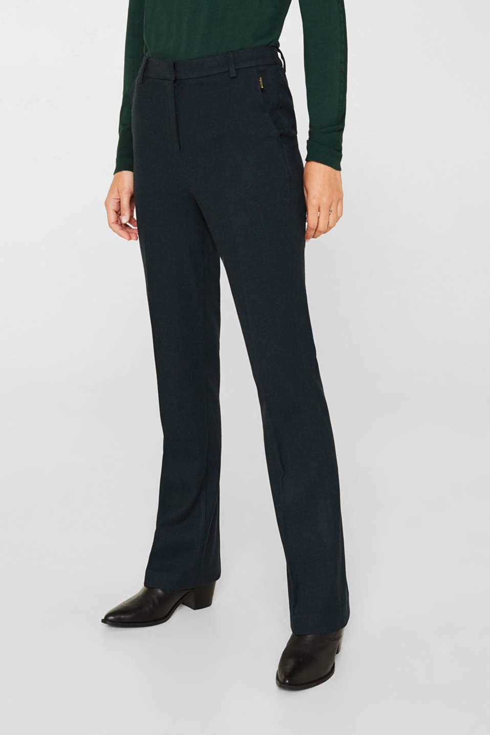 Flannel trousers with stretch for comfort, DARK TEAL GREEN, detail image number 6