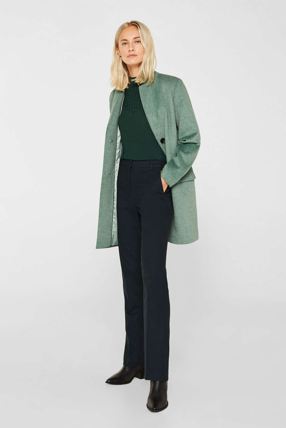 Flannel trousers with stretch for comfort, DARK TEAL GREEN, detail image number 1