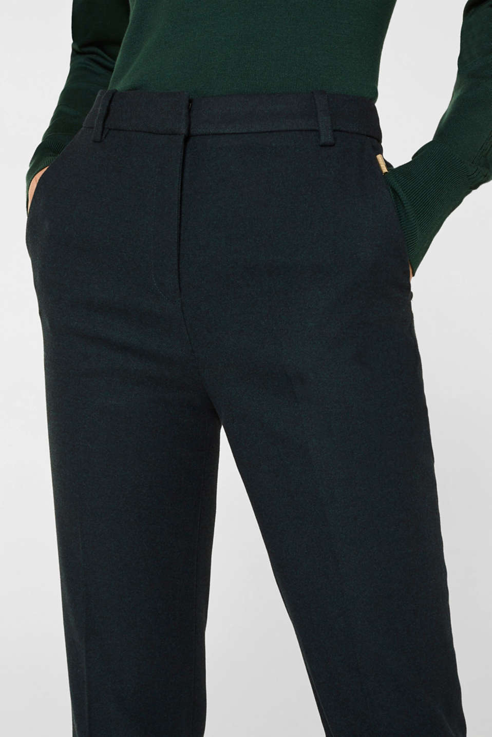 Flannel trousers with stretch for comfort, DARK TEAL GREEN, detail image number 2