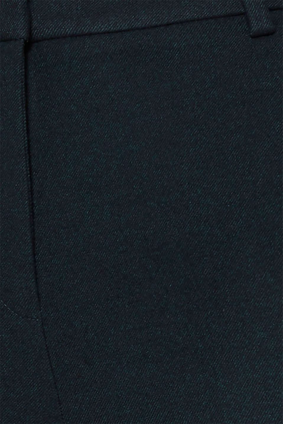 Flannel trousers with stretch for comfort, DARK TEAL GREEN, detail image number 4