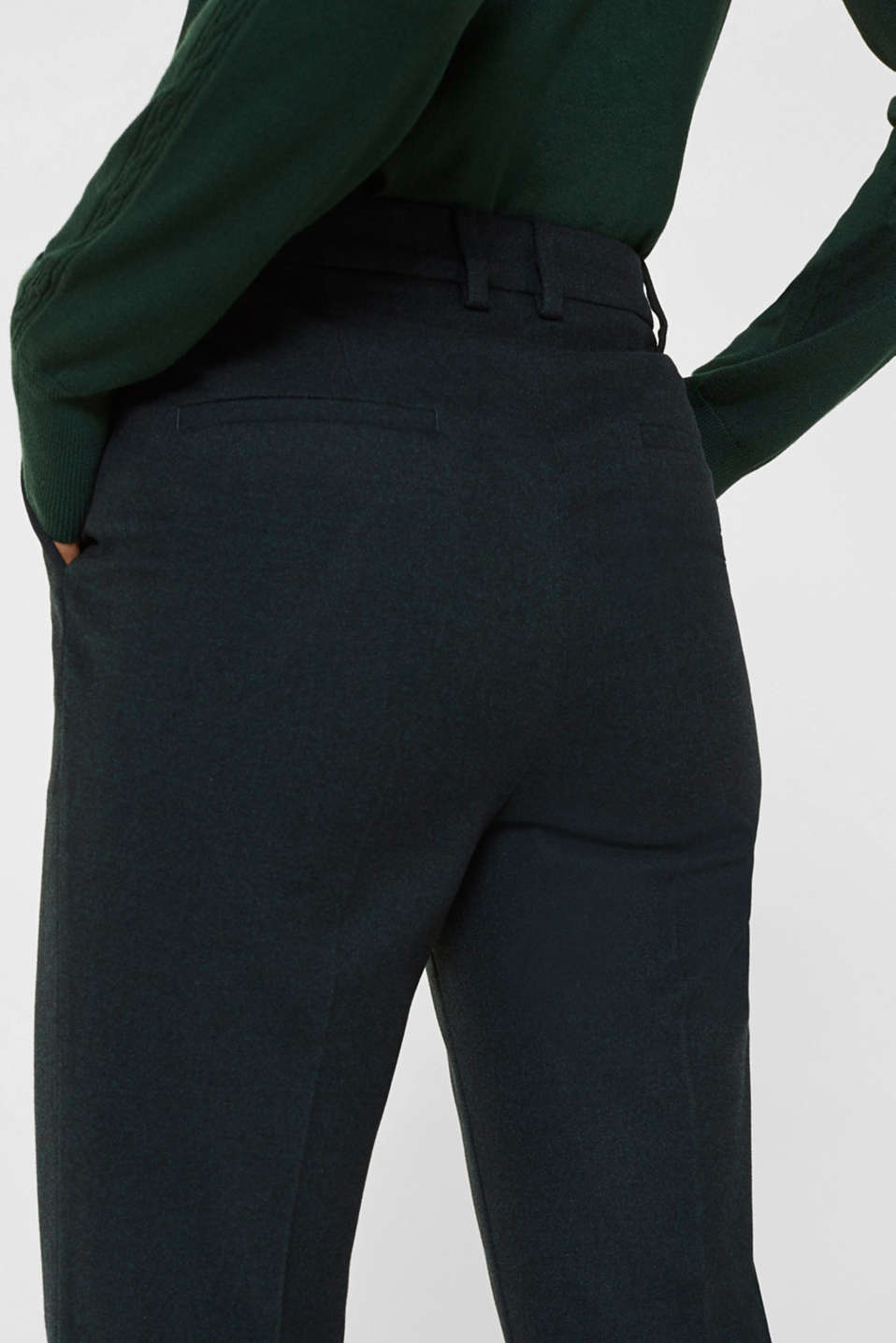 Flannel trousers with stretch for comfort, DARK TEAL GREEN, detail image number 5