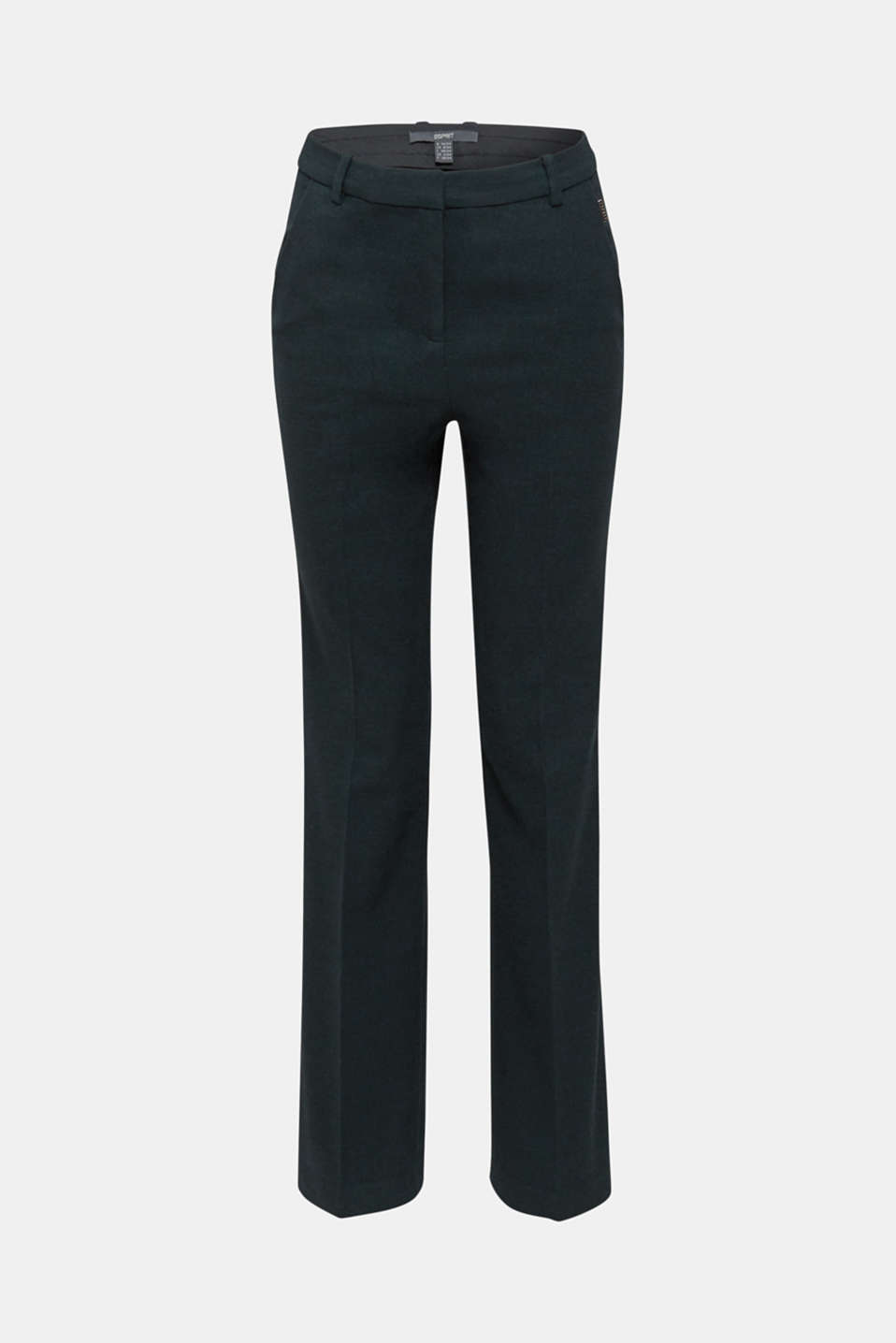 Flannel trousers with stretch for comfort, DARK TEAL GREEN, detail image number 7