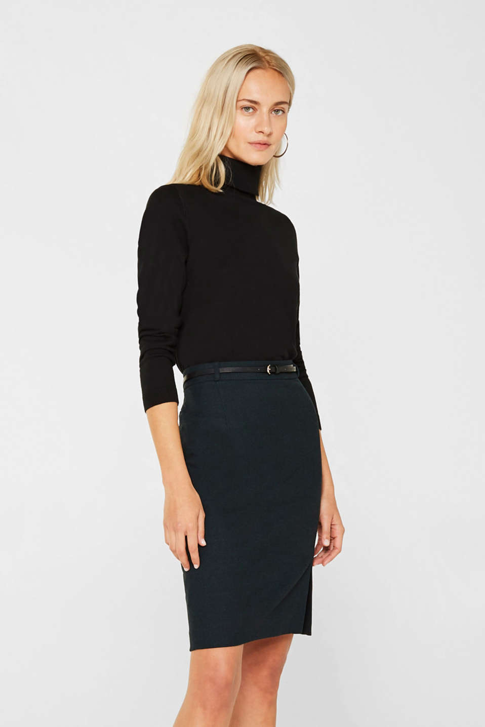 Esprit - Pencil skirt made of flannel with a belt