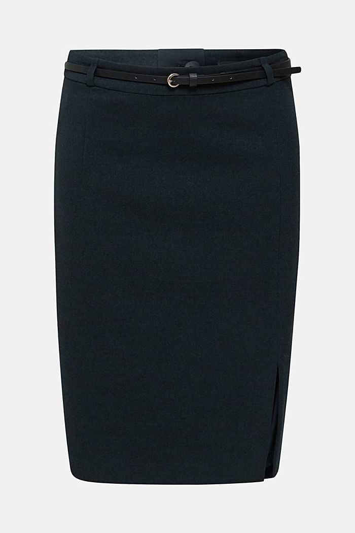 Pencil skirt made of flannel with a belt, DARK TEAL GREEN, detail image number 0