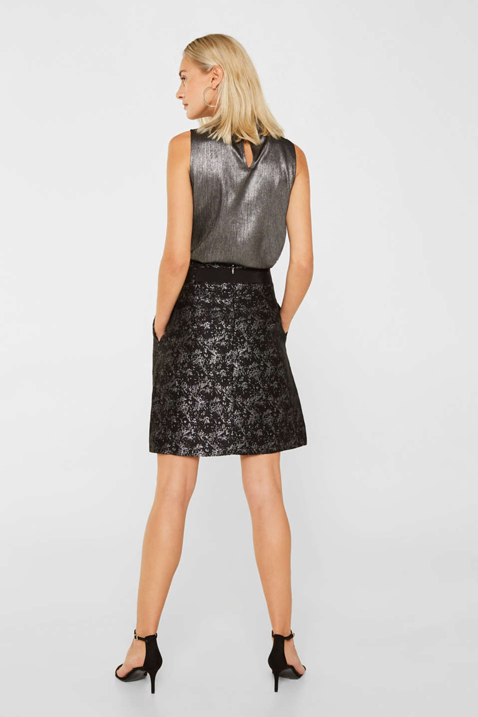Jacquard skirt with a metallic sheen, BLACK, detail image number 3
