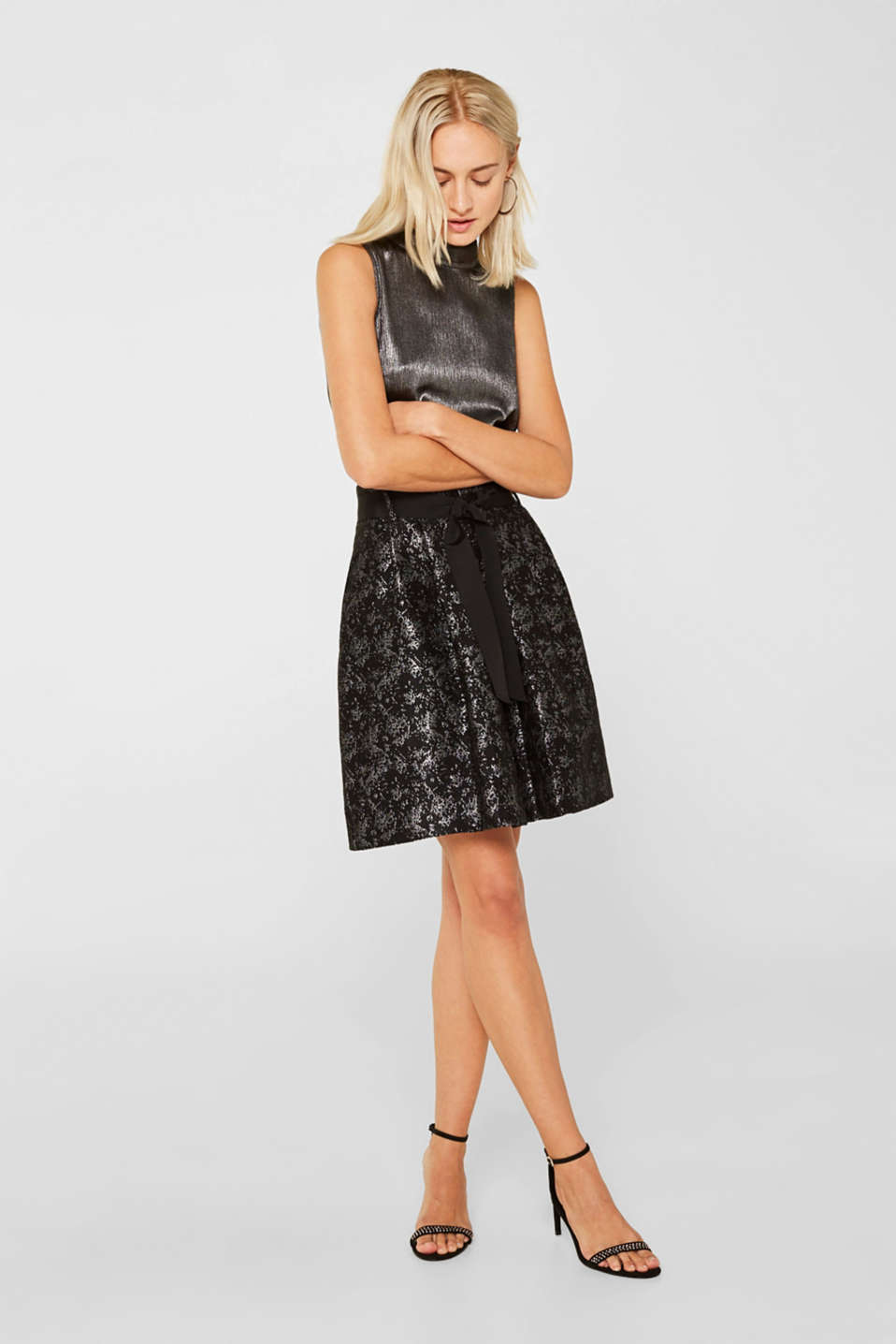 Jacquard skirt with a metallic sheen, BLACK, detail image number 5