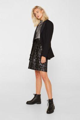 Jacquard skirt with a metallic sheen, BLACK, detail
