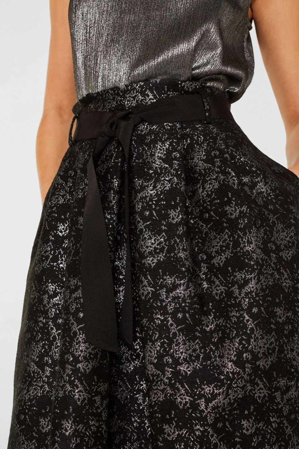 Jacquard skirt with a metallic sheen, BLACK, detail image number 2