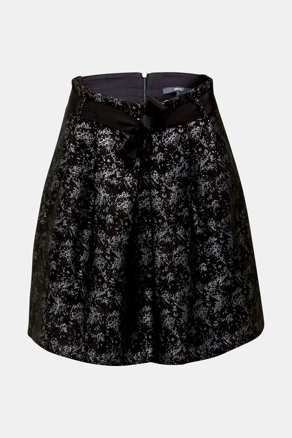 Jacquard skirt with a metallic sheen, BLACK, detail image number 6