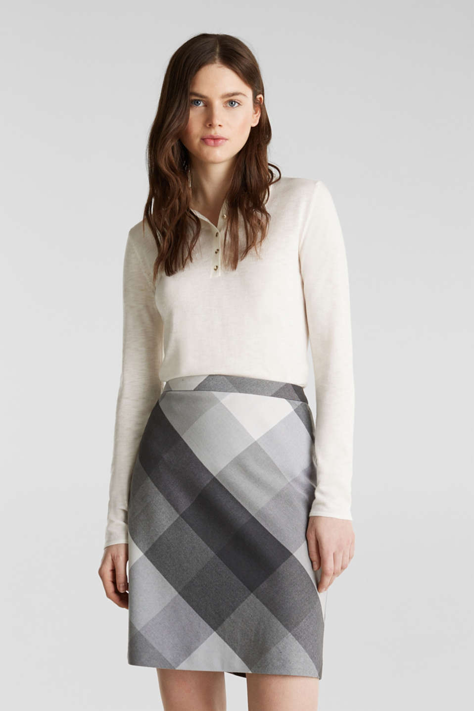 Skirt in faux wool with stretch, DARK GREY, detail image number 0