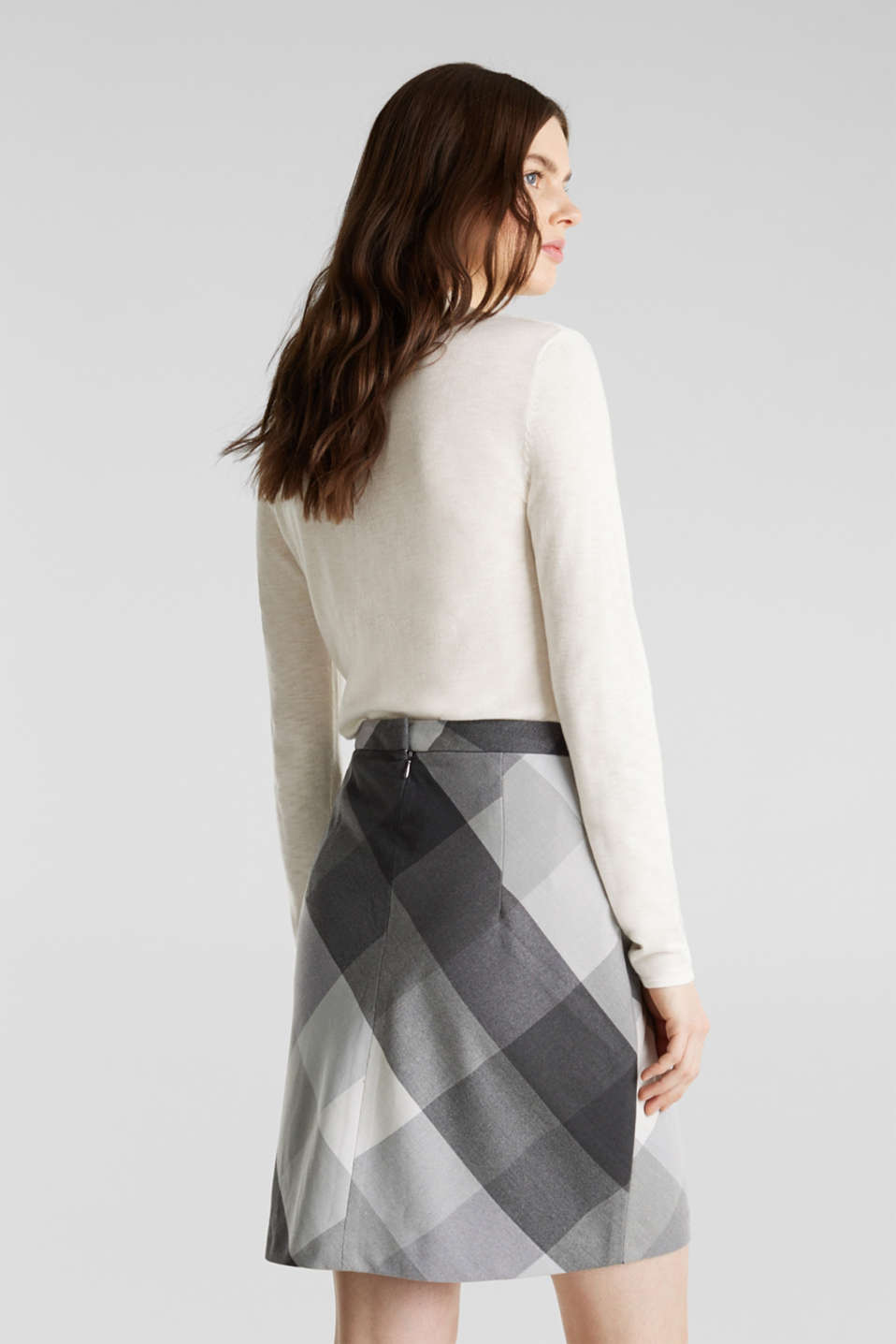 Skirt in faux wool with stretch, DARK GREY, detail image number 3
