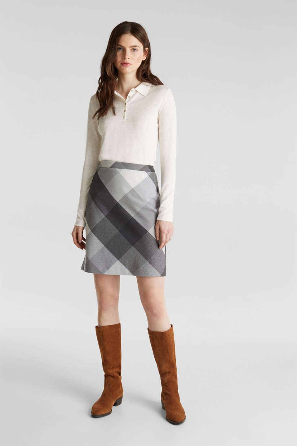 Skirt in faux wool with stretch, DARK GREY, detail image number 1