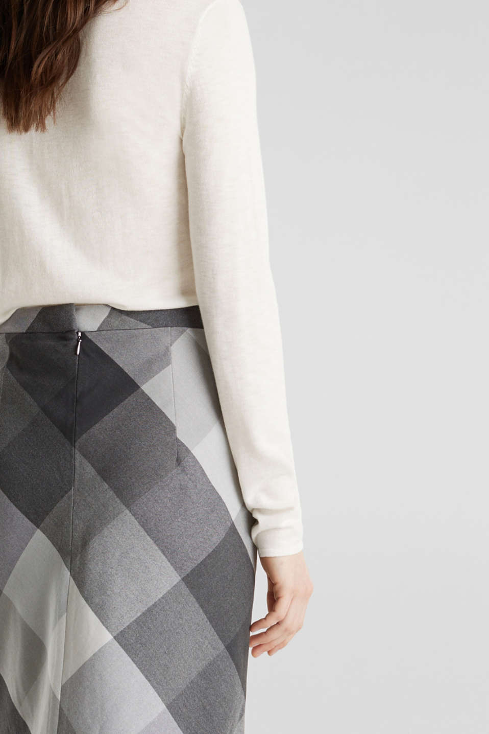 Skirt in faux wool with stretch, DARK GREY, detail image number 5