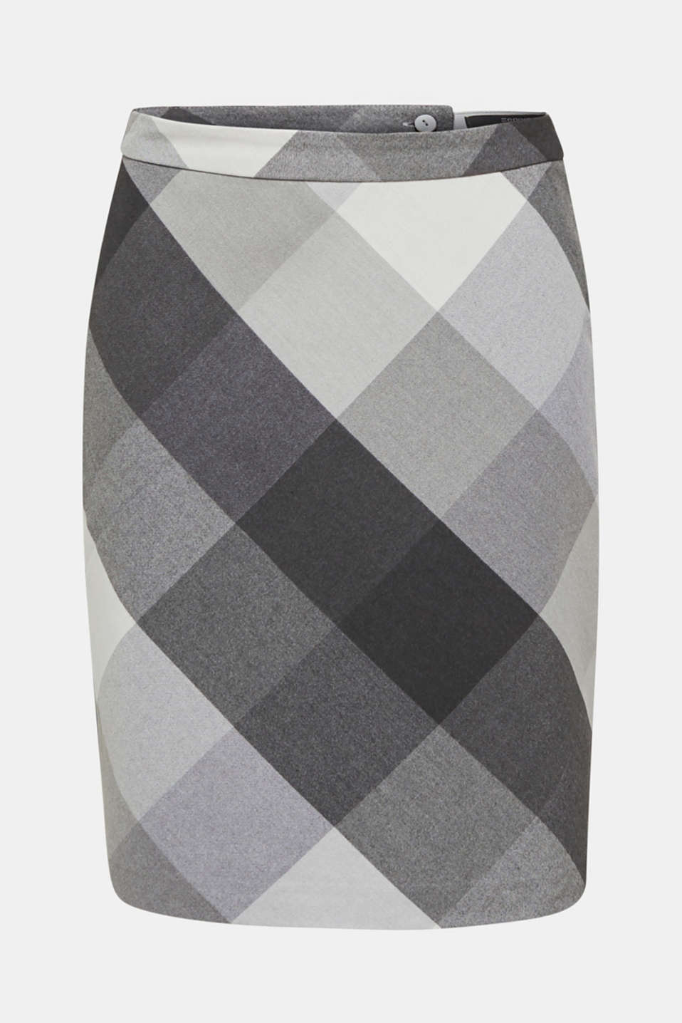 Skirt in faux wool with stretch, DARK GREY, detail image number 7