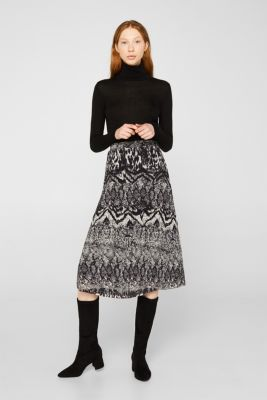 Pleated skirt with an animal print, BLACK, detail