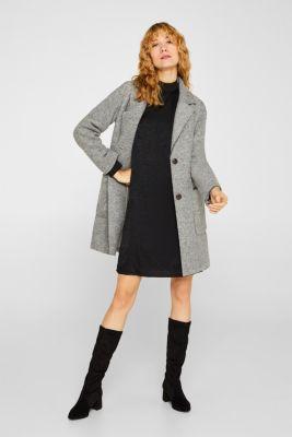 Dress with a semi-sheer leopard pattern, BLACK, detail
