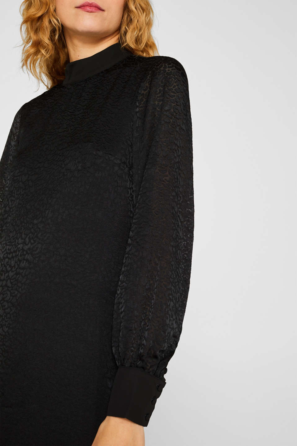 Dress with a semi-sheer leopard pattern, BLACK, detail image number 3