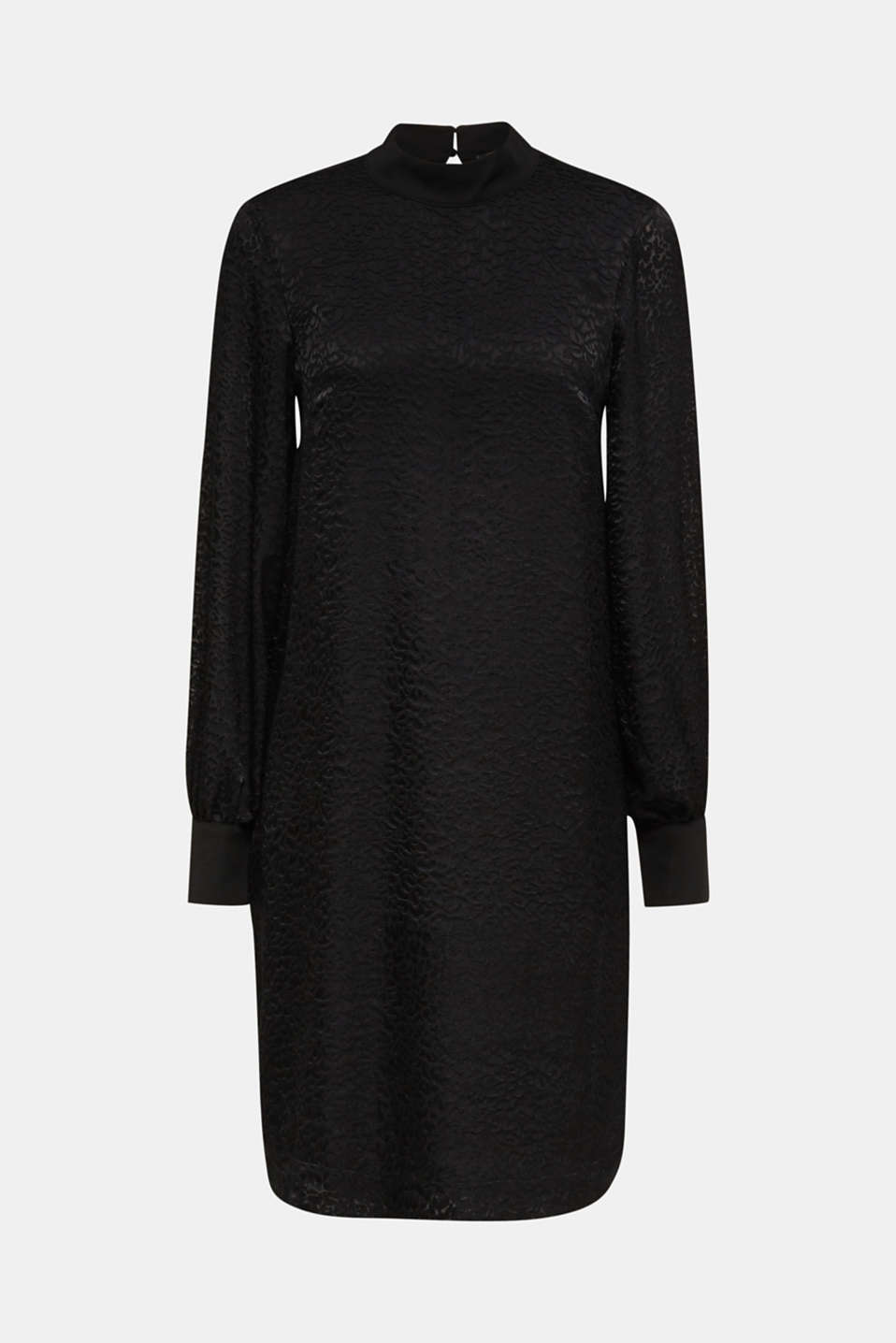 Dress with a semi-sheer leopard pattern, BLACK, detail image number 6