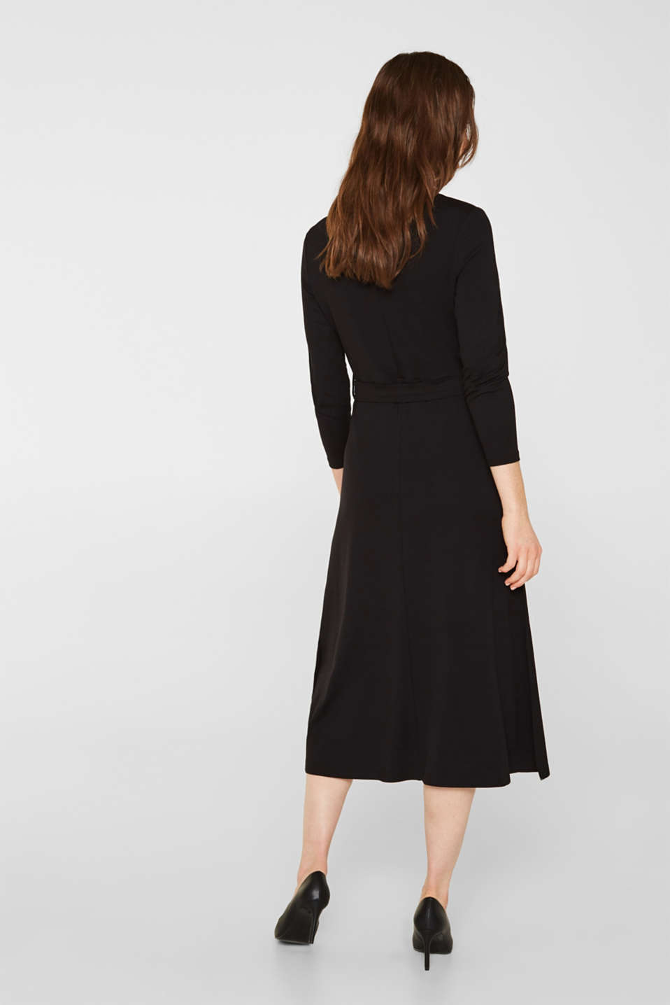 Stretch jersey dress with a polo neck, BLACK, detail image number 2