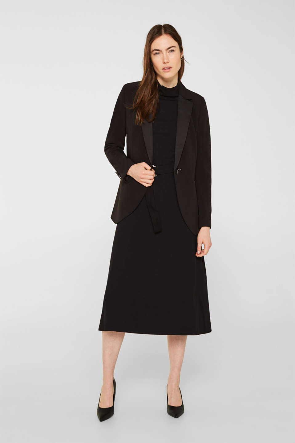 Stretch jersey dress with a polo neck, BLACK, detail image number 1