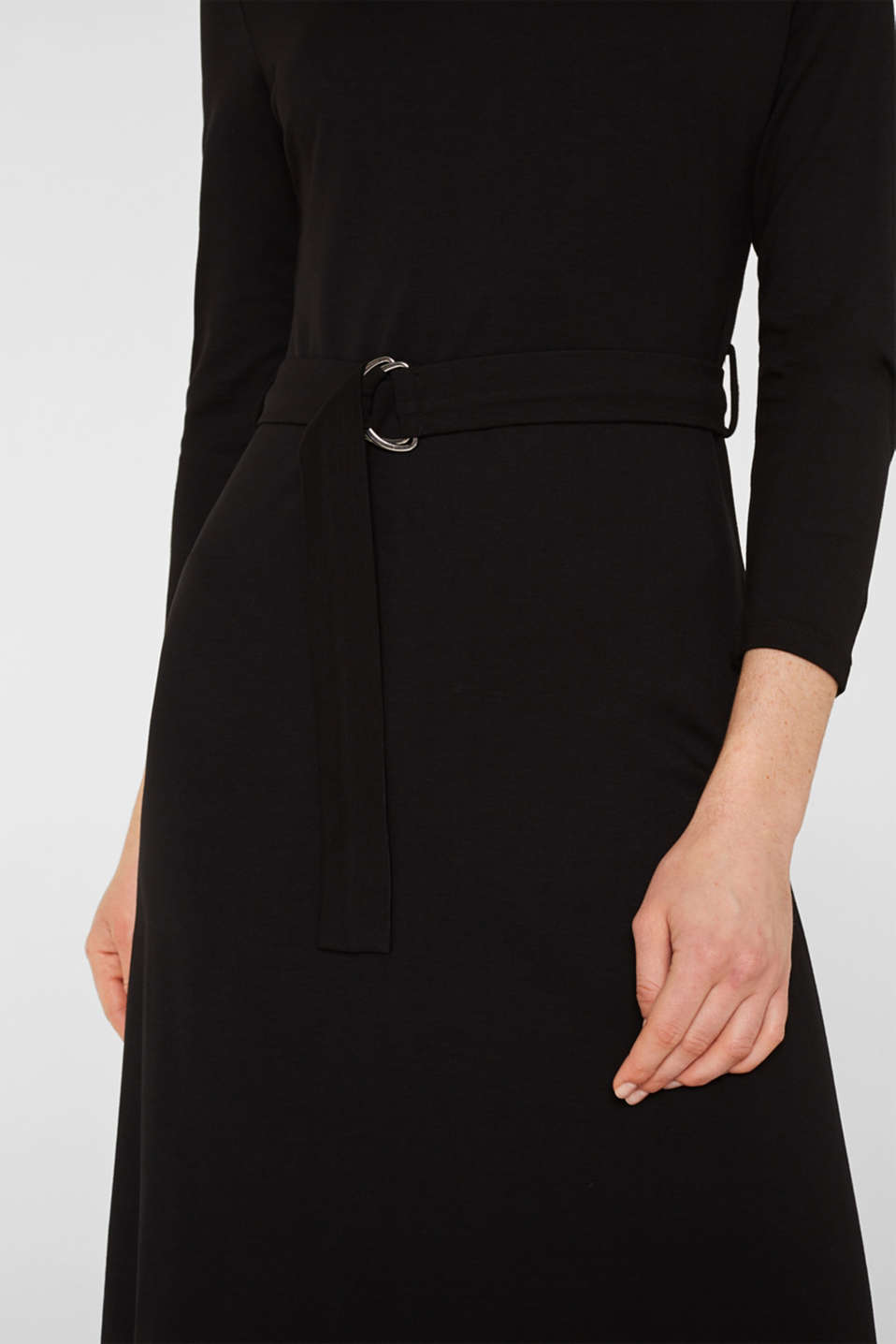 Stretch jersey dress with a polo neck, BLACK, detail image number 3