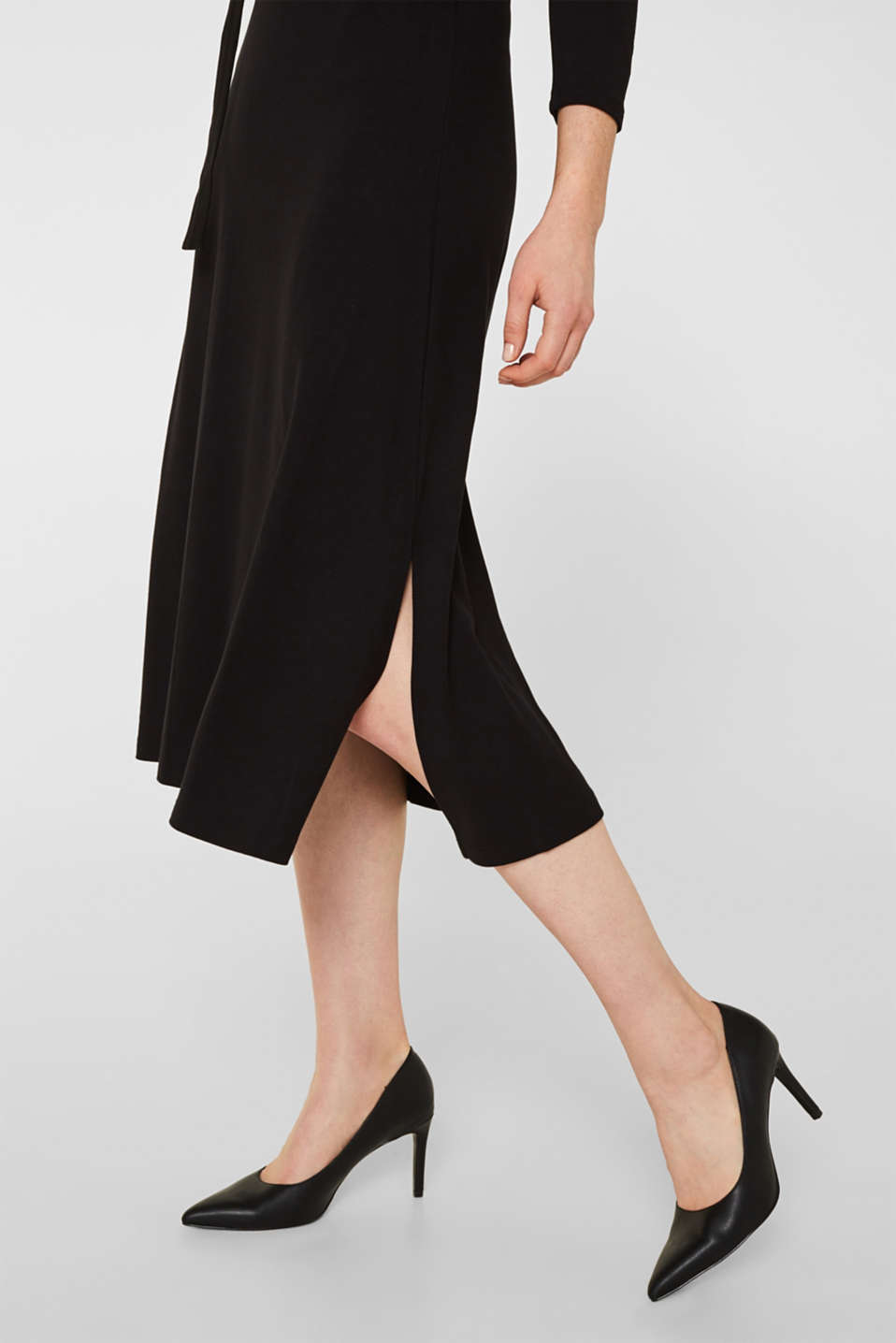 Stretch jersey dress with a polo neck, BLACK, detail image number 5