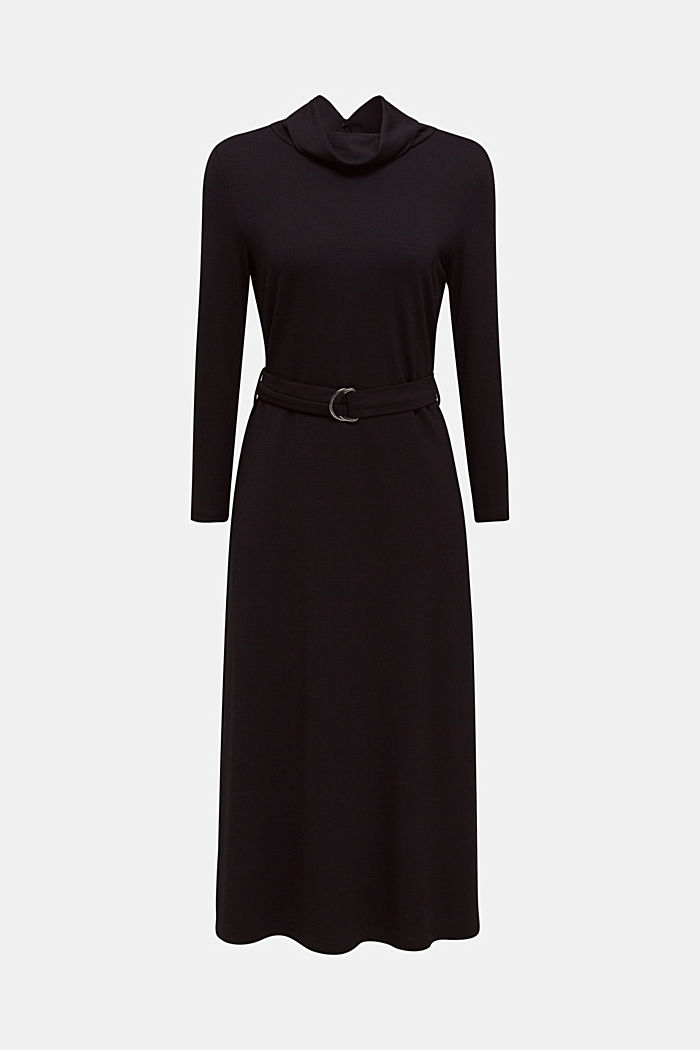 Stretch jersey dress with a polo neck, BLACK, overview