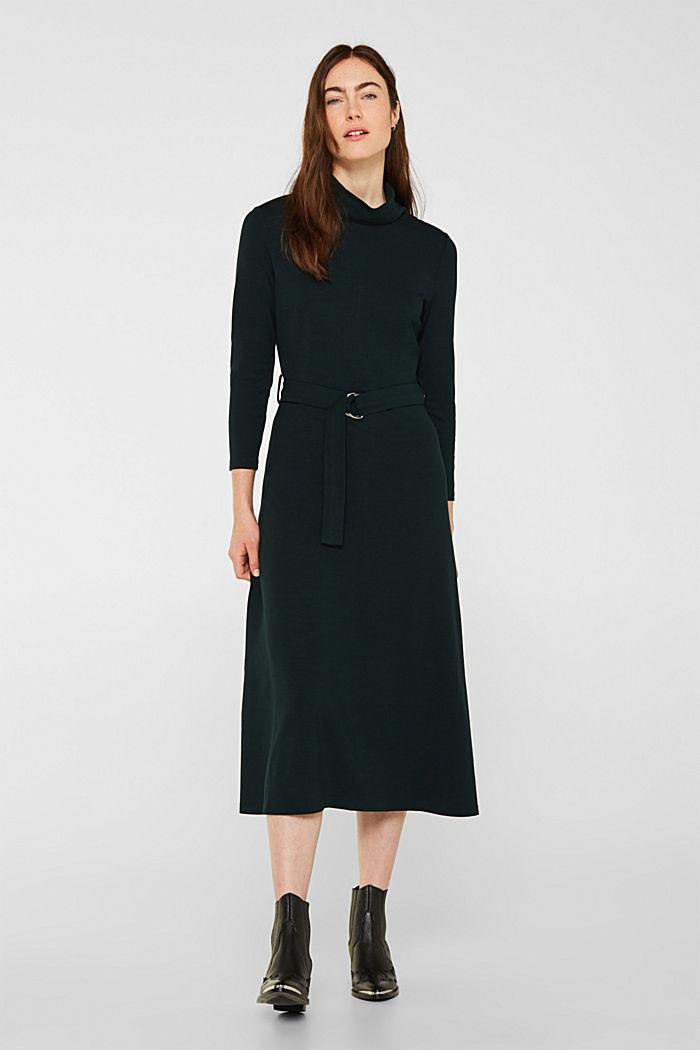 Jersey-Stretch-Kleid mit Rollkragen, DARK TEAL GREEN, detail image number 0
