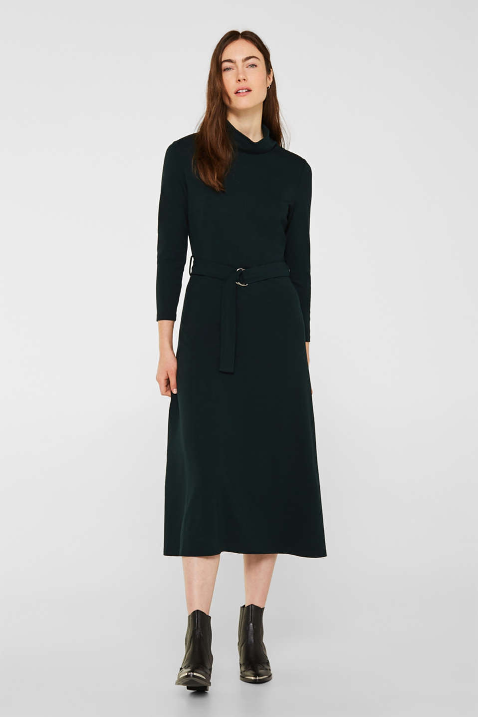 Esprit - Stretch jersey dress with a polo neck
