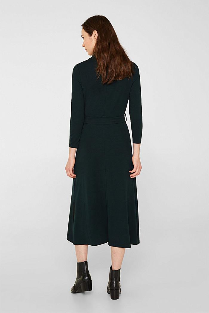Jersey-Stretch-Kleid mit Rollkragen, DARK TEAL GREEN, detail image number 2