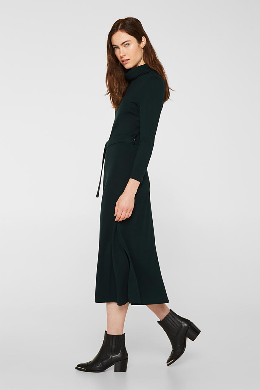 Stretch jersey dress with a polo neck