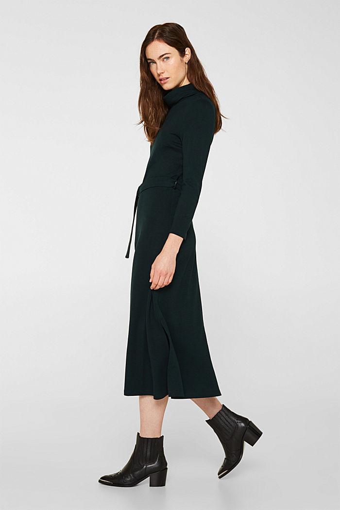 Stretch jersey dress with a polo neck