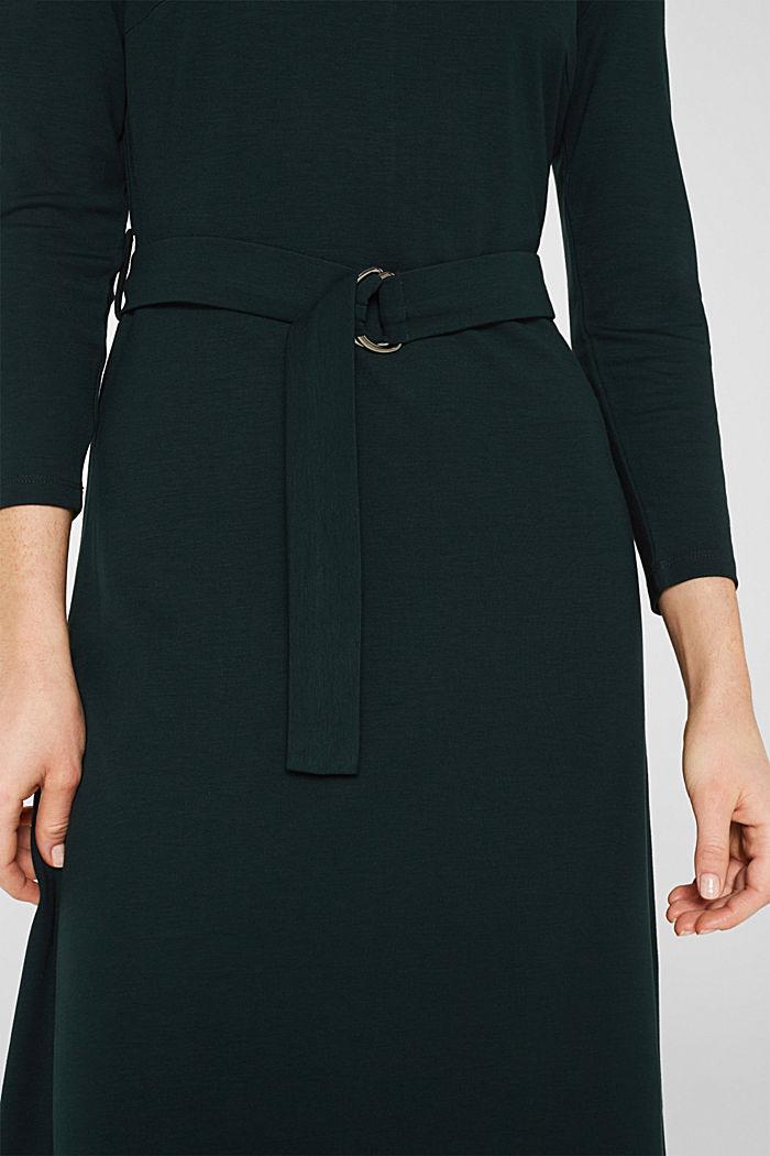 Jersey-Stretch-Kleid mit Rollkragen, DARK TEAL GREEN, detail image number 3