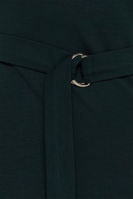 Stretch jersey dress with a polo neck, DARK TEAL GREEN, detail