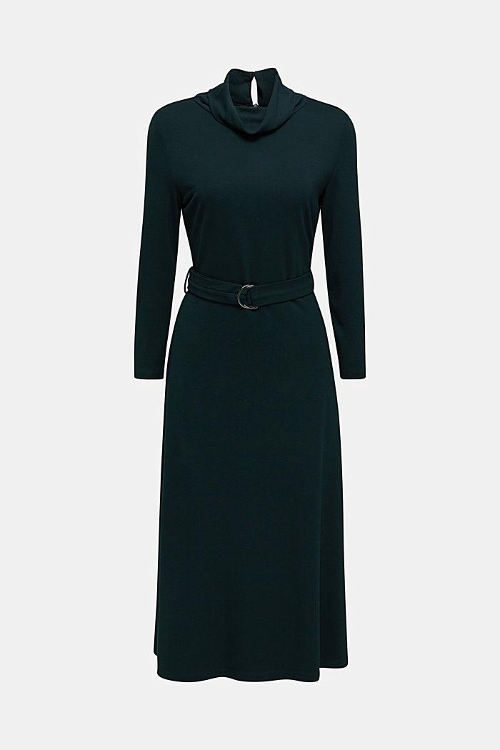 Jersey-Stretch-Kleid mit Rollkragen, DARK TEAL GREEN, detail image number 5