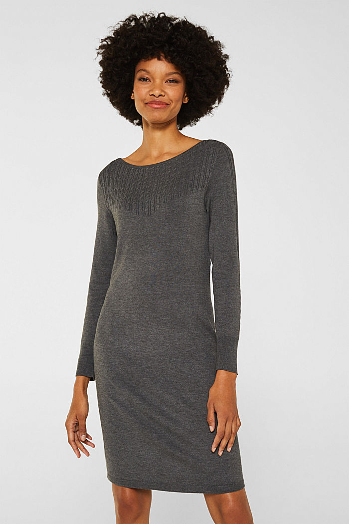 Knit dress with LENZING™ ECOVERO™, GUNMETAL, detail image number 0