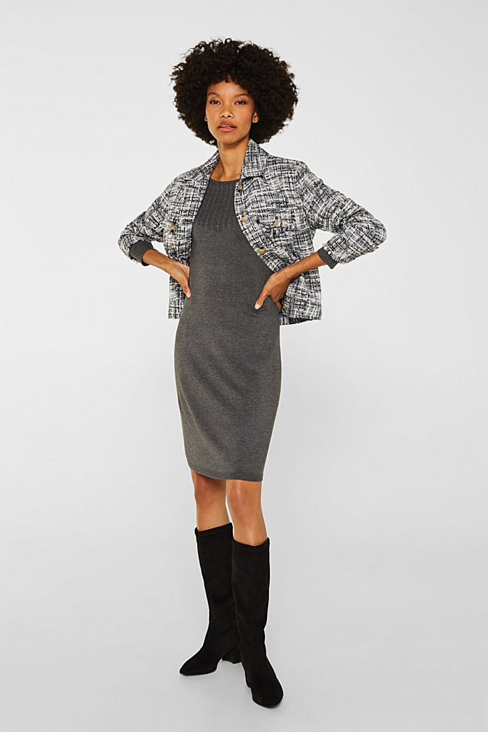 Knit dress with LENZING™ ECOVERO™, GUNMETAL, detail image number 1