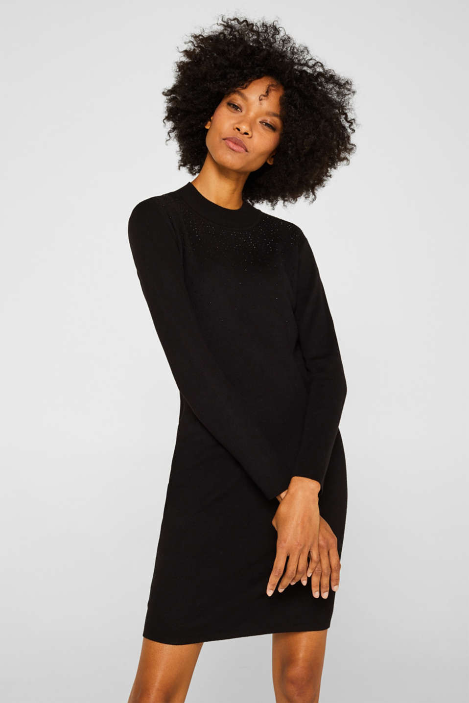 Knit dress with LENZING™ ECOVERO, BLACK, detail image number 0