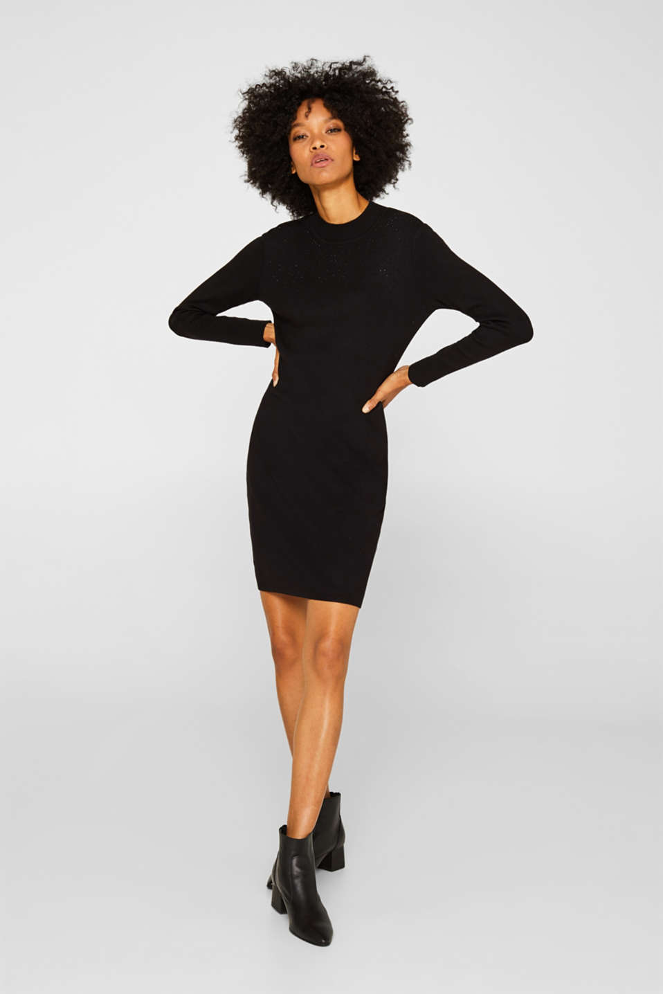 Knit dress with LENZING™ ECOVERO, BLACK, detail image number 1