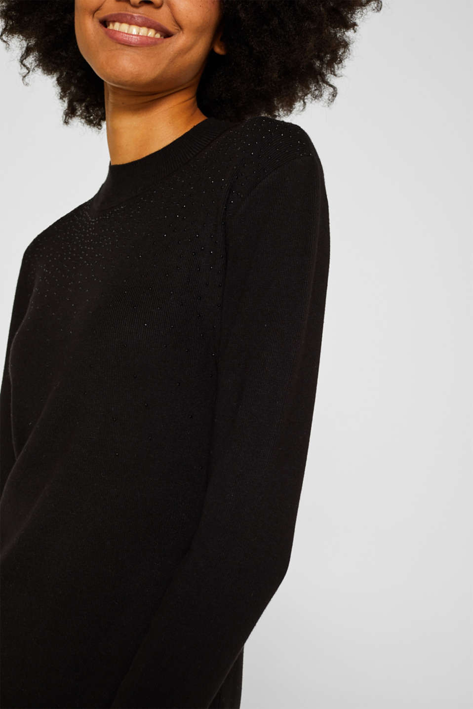 Knit dress with LENZING™ ECOVERO, BLACK, detail image number 3