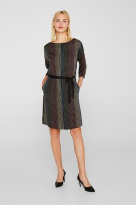 Woven dress with a print and a belt, BLACK 3, detail