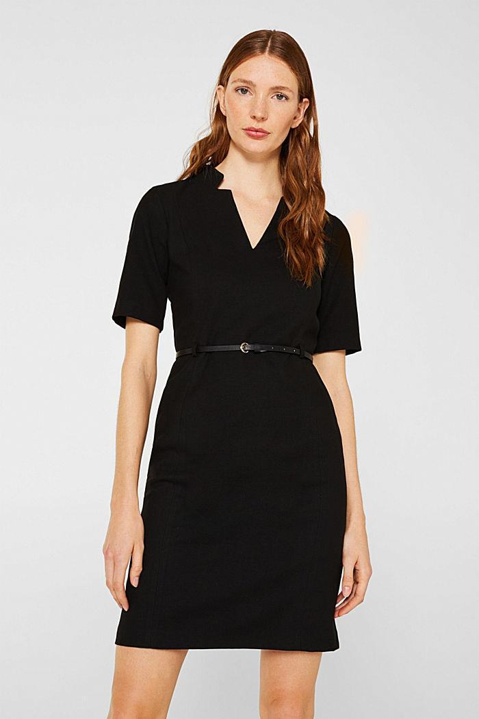 Flanell-Kleid mit Gürtel, BLACK, detail image number 0