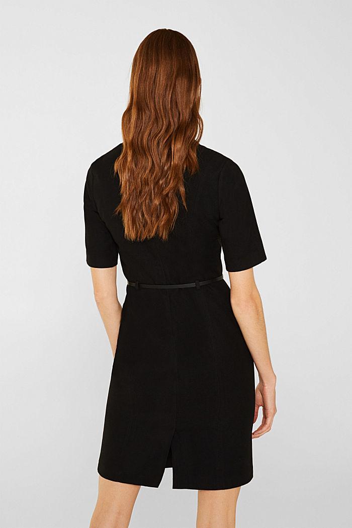 Flannel dress with a belt, BLACK, detail image number 3