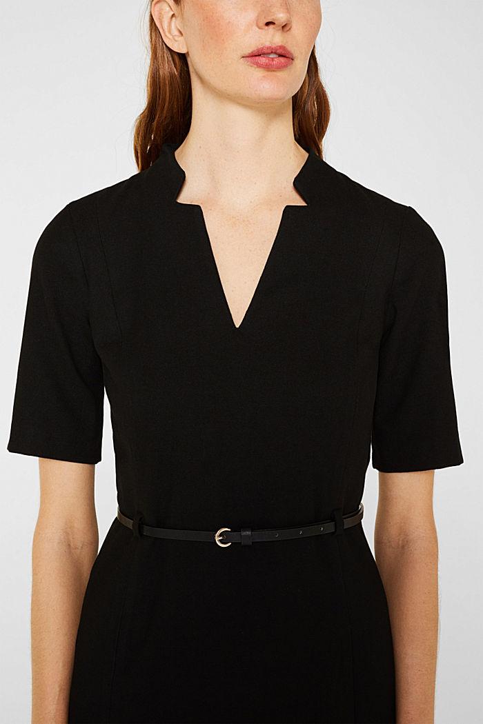 Flannel dress with a belt, BLACK, detail image number 2